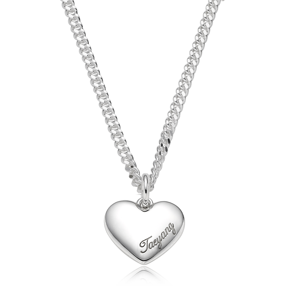 Custom Pet Tags-Sterling Silver Heart Necklace 3.4 [ Personalized Engraving ]
