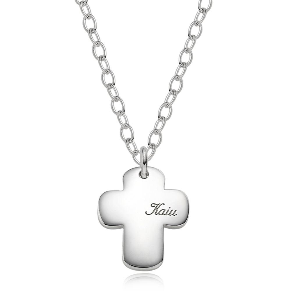 [Large Dog] Silver Pet ID Tag Cross Bold Necklace-4.0 Cable Chain