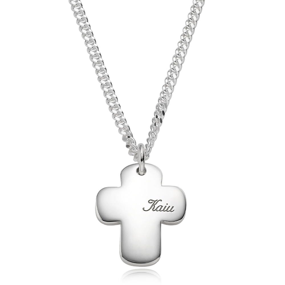 Pet ID Tags-Sterling Silver Cross Bold (L) Cursive Necklace 3.4Curb Chain [Personalized Engraving]