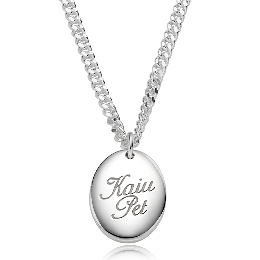 Pet ID Tags-Sterling Silver Modern Oval(L) Cursive Necklace 4.0 Curb Chain [ Personalized Engraving ]