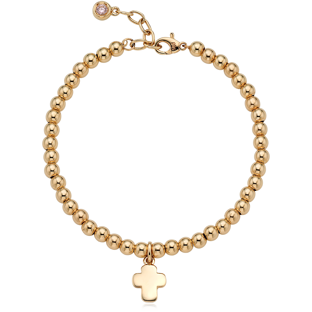14K /18K Gold Cross Pendant 4.0mmBall Birthstone Bracelet[16+2.5cm]