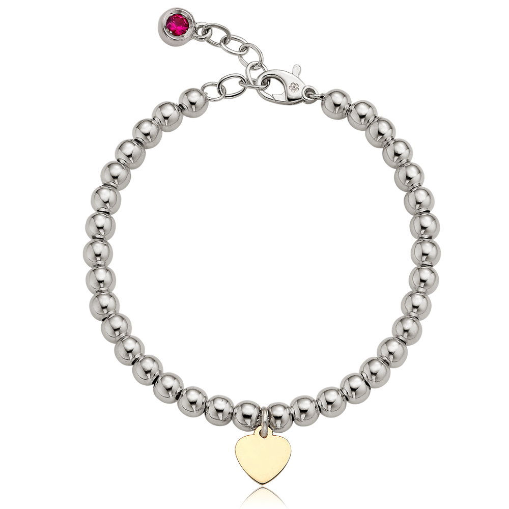 5K Gold Heart Charm Sterling Silver Bead Birthstone Bracelet [ Personalized Engraving ]
