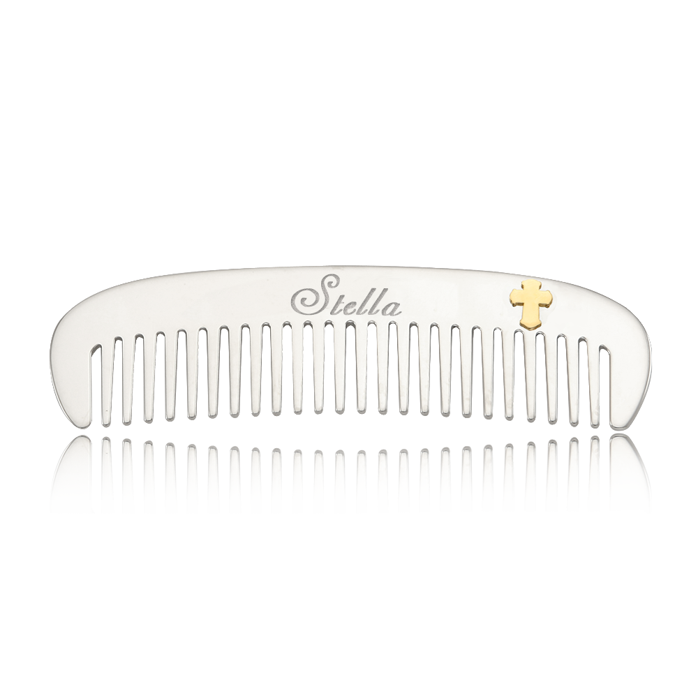 NEW Baptism Gift- Personalization Name Sterling Silver Comb Bow Bow  5K Gold Cross