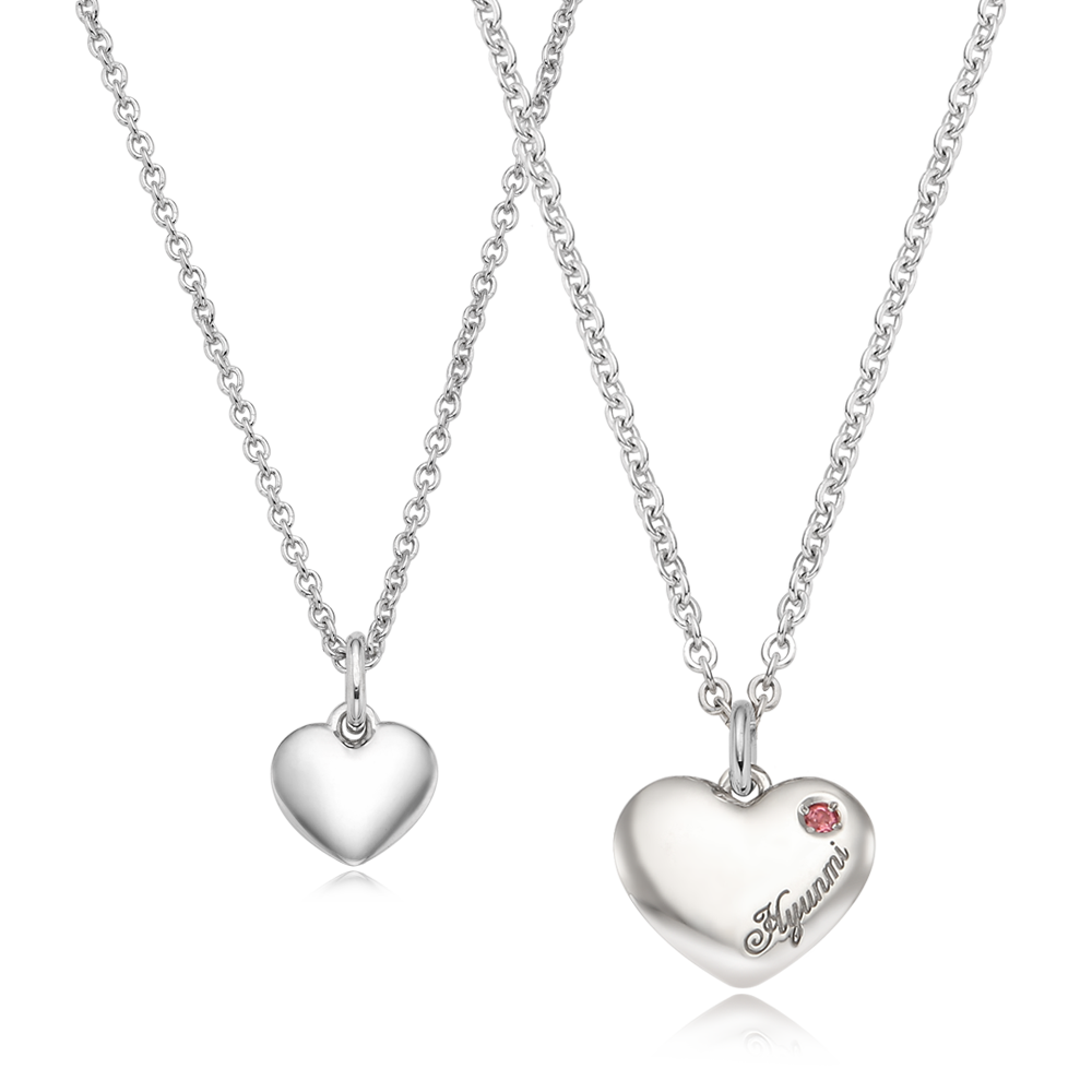 Kaiu Simple Heart Couple Silver Necklace