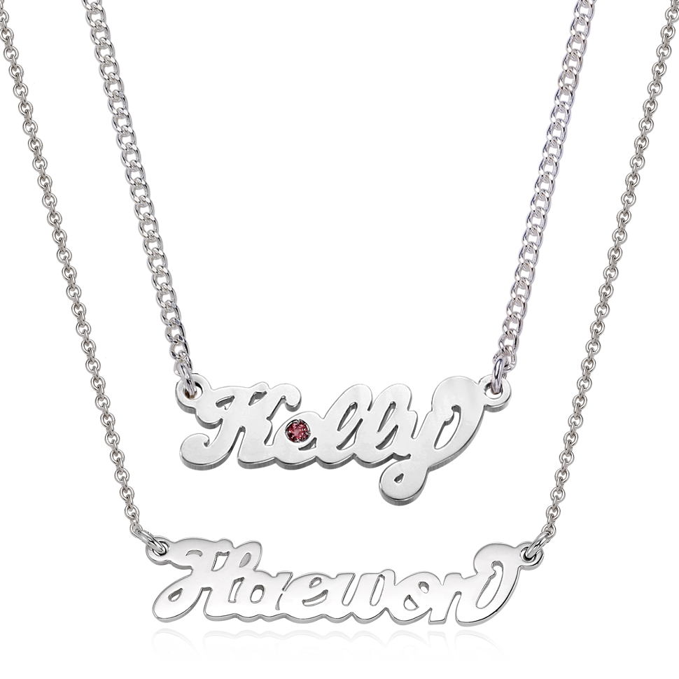 Silver Grace Birthstone Name Necklace Baby + Adult SET