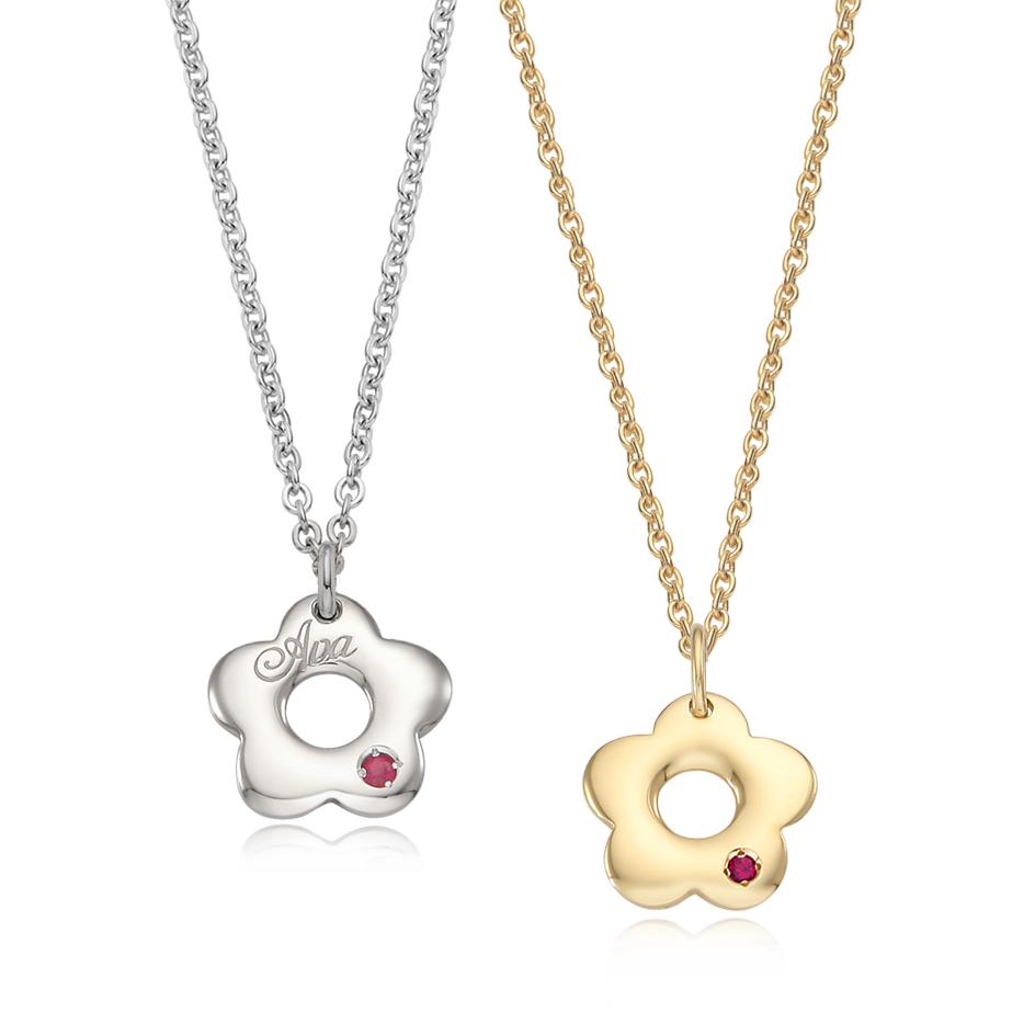 Silver/ 14K/18K Donut Flower Necklace Kids + Mom SET