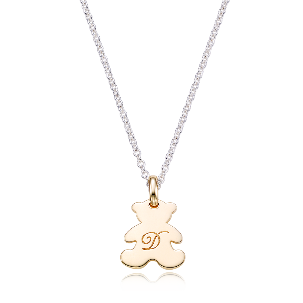 [For Adults] Teddy Bear 5K Gold Pendant and Silver Chain Engraved Necklace
