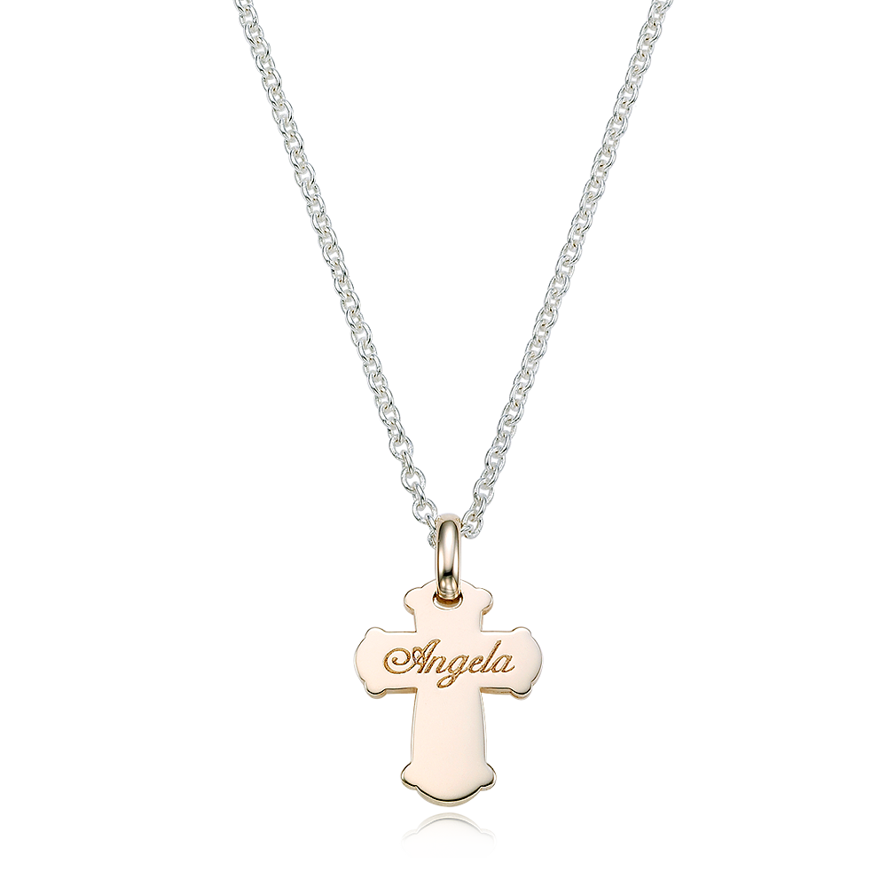 5K Gold Cross & Silver Chain Engraved Necklace-Baptism Gift