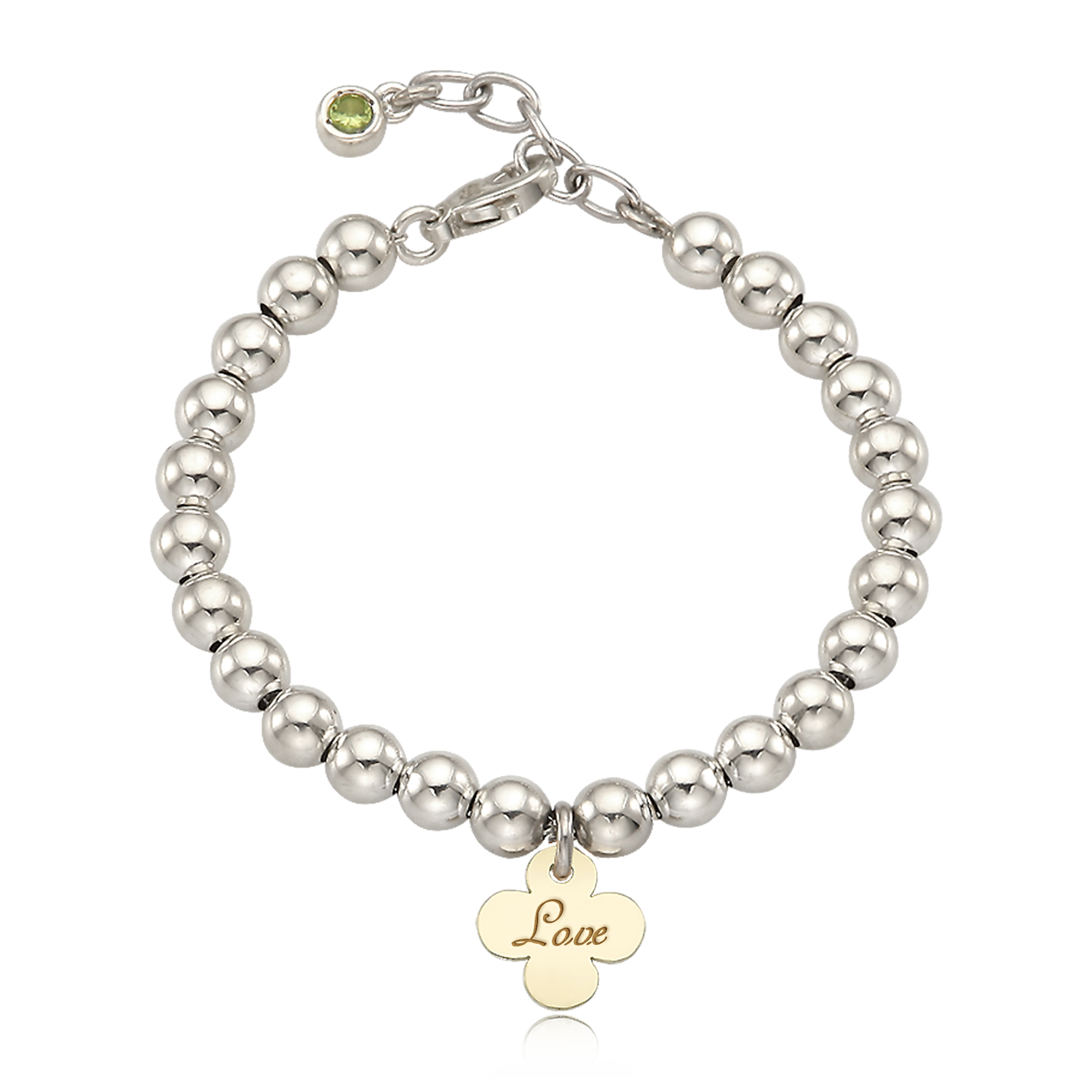 5K Gold Crover Charm Sterling Silver Bead  3mm Natural Birthstone Bracelet [ Personalized Engraving ]