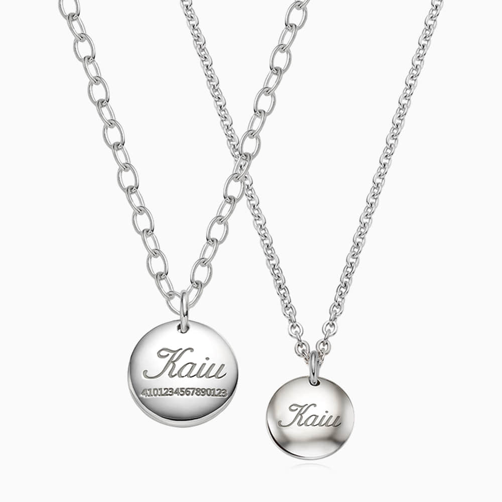 [With my Pet] Silver Round Necklace