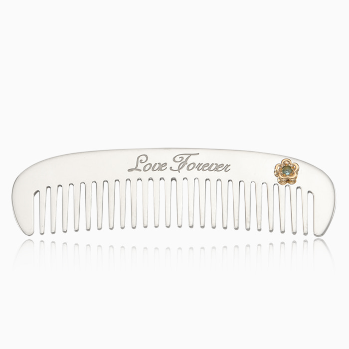 Baby & Kids  Sterling Silver Comb- Bow Bow [ 5K Gold Flower Birth Stone ]